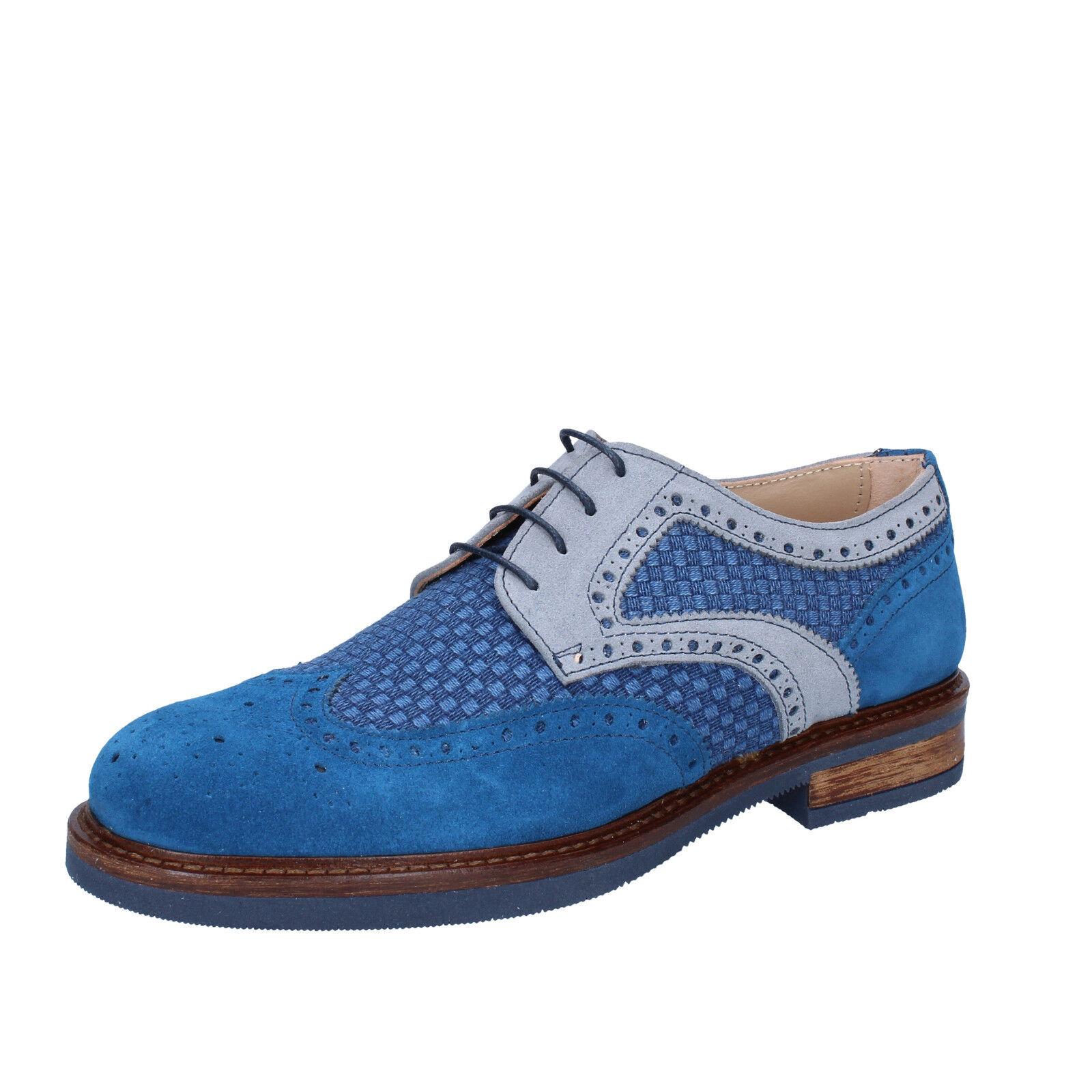 Herren schuhe FDF SHOES 45 EU elegante blau grau wildleder textil BZ348-G