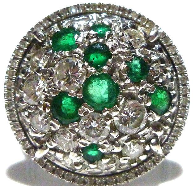 ESTATE WOMENS 14K WHITE gold 2.25CT DIAMOND & EMERALD CIRCLE SHIELD RING SIZE 7
