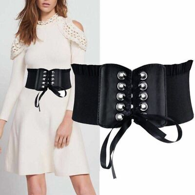 elastic corset eyelet belt women bow black wide waistband