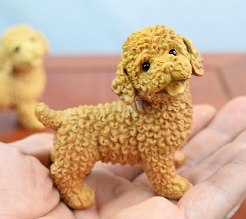 JX014-7x7 CM Stunning Boxwood Carving Little Teddy Dog