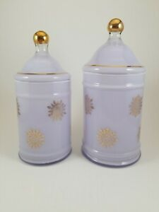 2-VTG-Glass-Vanity-Dresser-Jars-Canisters-Reverse-Paint-purple-with-gold-accents