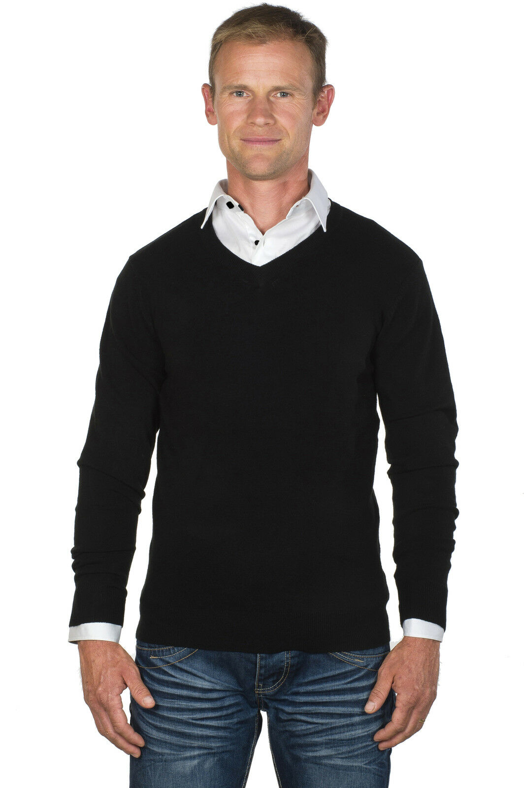 Ugholin Herren Schwarz Pullover 2 in 1 mit Weiß Hemd Einsatz
