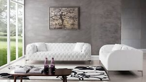 Details about 2 PC Modern White Leather Sofa Loveseat Living Room Couch Set