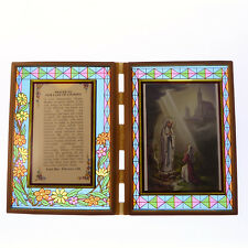 Stained glass double frame with Consecration to the Sacred Heart /& image 18cm
