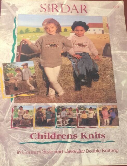 Sirdar 237 Childrens Knits Farm Themed Pullover Sweater Knitting Pattern Booklet
