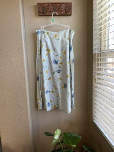 VINTAGE Liz Claiborne Womens Skirt 14p Blue Floral