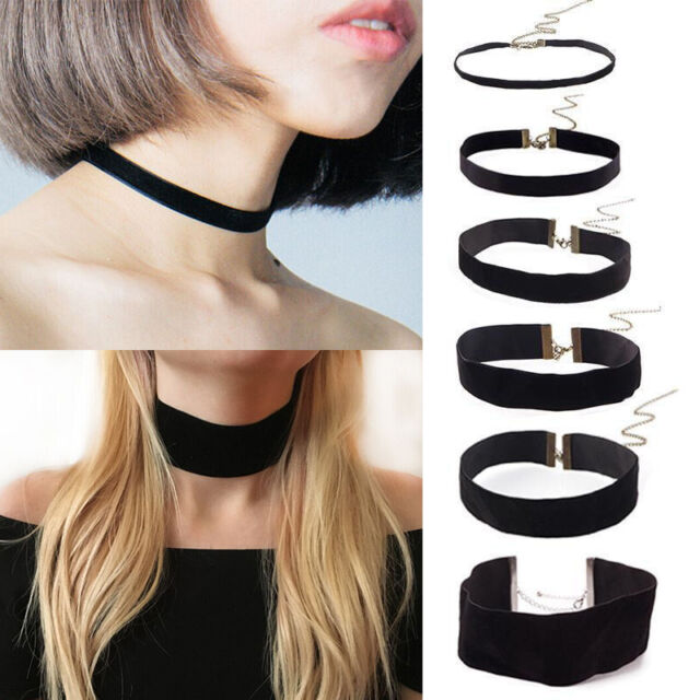 Velvet Choker Black Necklace Ribbon Vintage Gothic Goth Multilayer Collar 90/'s