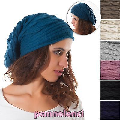 Cappello tricot invernale a palloncino misto angora cappellino donna nuovo M-337