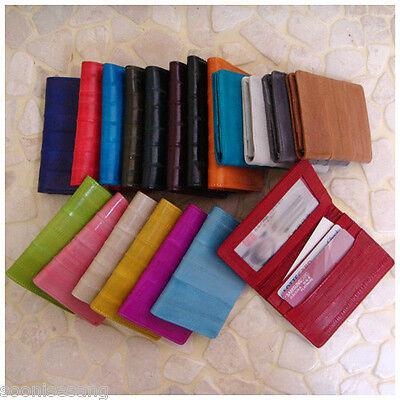 Genuine Eel Skin Leather Business Card Id Case Wallet Purse
