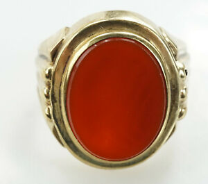reizender-Ring-333er-Gold-Achat-Edelstein-Goldring-Gelbgold-8-Karat-6-Gramm
