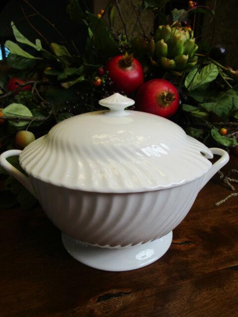 LARGE Soup Tureen w Plate Lid ROYAL DOULTON England Cascade White China Wedding