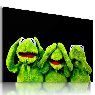 KERMIT GREEN FROG KIDS ANIMALS ABSTRACT CANVAS WALL ART AB748 MATAGA NO FRAME