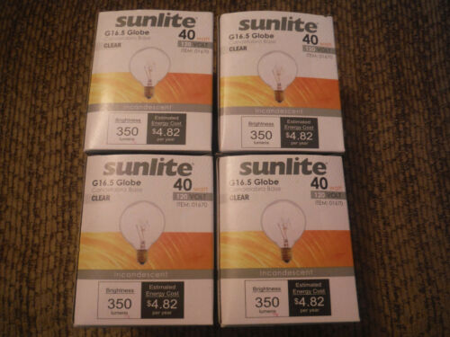 NEW LOT of 4 Sunlite 40 Watt G16.5 Global Candelabra Base CLEAR 120 Volt Bulbs