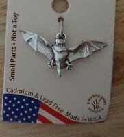 Sterling Silver 3d 12x27mm Halloween Vampire Bat Charm
