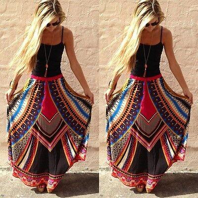 Womens Retro Floral Gypsy Swing Long Skirt Summer Hippie Maxi Sundress Boho