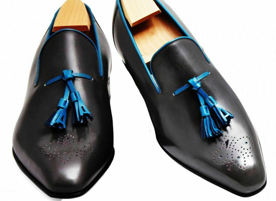 Mens Handmade shoes Loafer Brogue Tassels Leather Formal Dress Casual Wear Boots