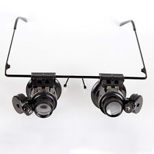 20X Vergrößerungsglas Lupe LED Licht Brille Lupenbrille Brillenlupe Uhrmacher