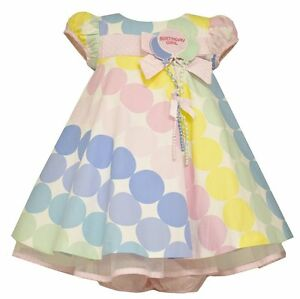 Bonnie Jean Baby Girls/' Pastel Polka Dots Birthday Party Colorful Dress New