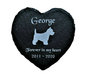 Personalised-Engraved-Slate-Heart-Pet-Memorial-Grave-Marker-Plaque-Westie-Dog