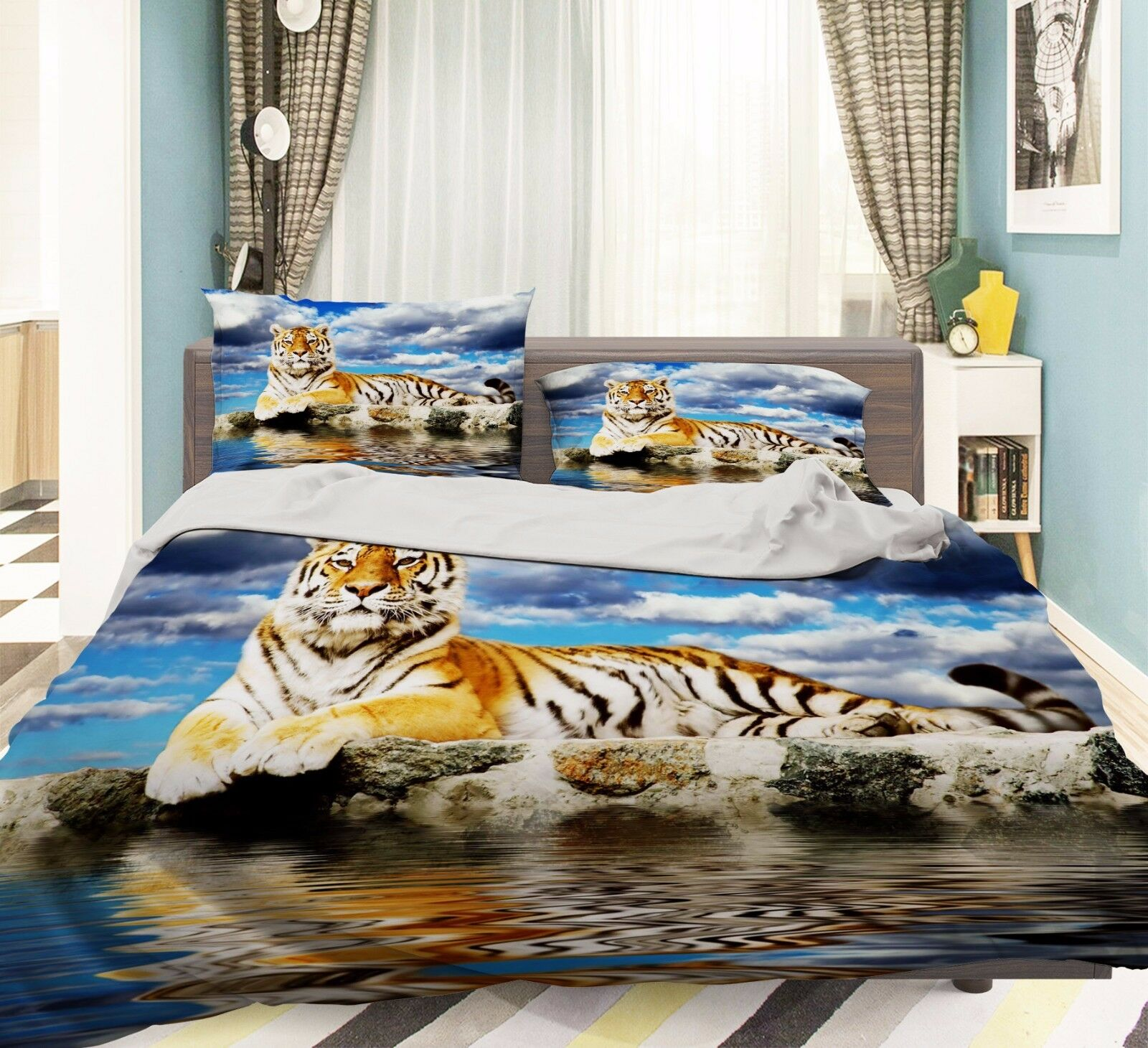 3D Tiger Animal 736 Bed Pillowcases Quilt Duvet Cover Set Single Queen UK Carly