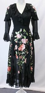 ASOS-Women-039-s-Flute-Sleeve-Embroidered-Wrap-Maxi-Dress-KB8-Black-US-0-UK-4-NWT