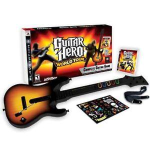 sony ps3 guitar hero world tour guitar kit bundle set game disc instrument 3 wt ebay. Black Bedroom Furniture Sets. Home Design Ideas