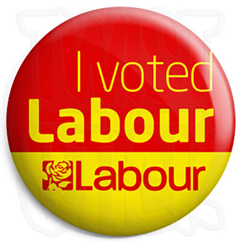 I Voted Labour 25mm Political Election Button Badge with Fridge Magnet Option