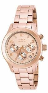 Invicta 19218 Lady's Chrono Rose Gold Dial Rose Gold Steel Watch