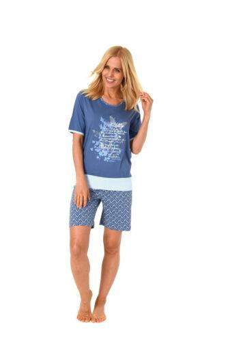 Damen Shorty Pyjama Schlafanzug Rundhals Kurzarm Hose Übergrößen 61244