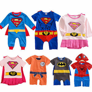 Infant-Baby-Boys-Girls-Superhero-Costume-Romper-Playsuit-Jumpsuit-Outfit-Clothes