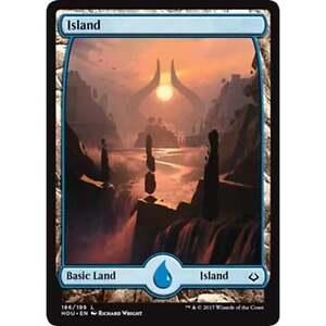 Foil-MTG-Full-Art-Land-Island-186-NM-Hour-of-Devastation