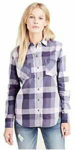 True-Religion-Women-039-s-Plaid-Utility-Button-Long-Sleeve-Shirt-in-Wisteria