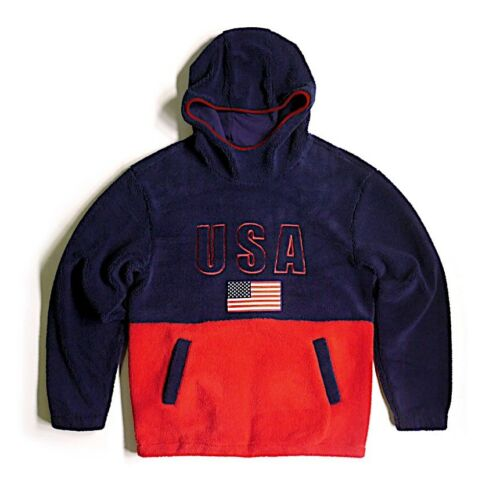 New BESTSELLER High Quality Sherpa Copper Rivet USA Pullover Hoodie with Flag