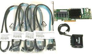 Adaptec-ASR-71605-1GB-16Port-HBA-RAID-PCIe-Controller-Card-w-Battery-4x-Cables