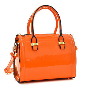 Women-Mini-Small-Patent-Faux-Leather-Handbag-Barrel-Satchel-Tote-Bag-Purse