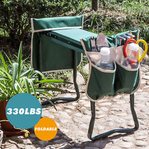 Folding-Garden-Kneeler-Kneeling-Pad-Seat-Bench-Stool-Cushion-w-2-Thicken-Pouches