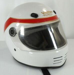 Vintage-Bell-Vetter-Motorcycle-Helmet-Full-Face-Red-White-Size-M-L
