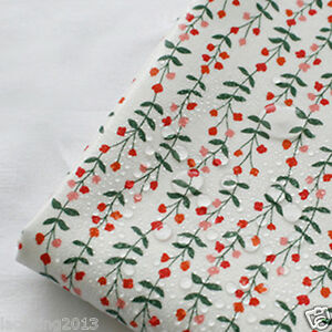 Laminated Cotton Fabric By The Yard 44 Wide Cozy Floral White