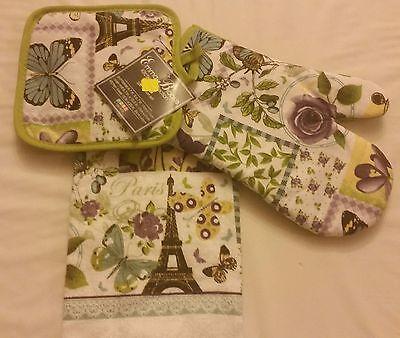 3 pc SET NEW KITCHEN SET: 1 POT HOLDER, 1 TOWEL & 1 OVEN MITT, Paris Butterflies