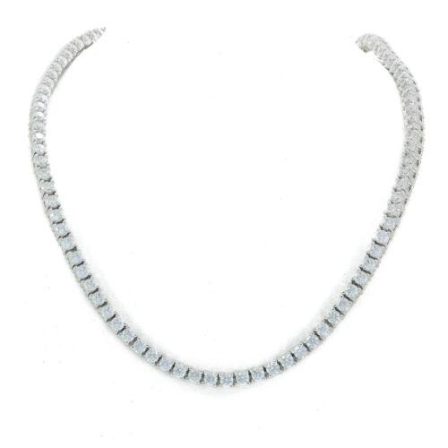 Unisex Solitaire Tennis Necklace Silver Finish Lab Diamonds 3mm Chain//Bracelet
