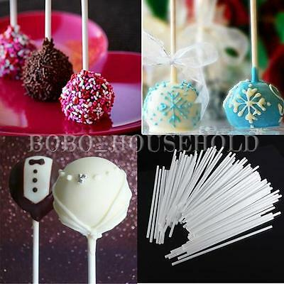 "100Pcs 6"" Plastic Lollipop Lolly Candy Pop Sucker Sticks Chocolate Cake Cookie"