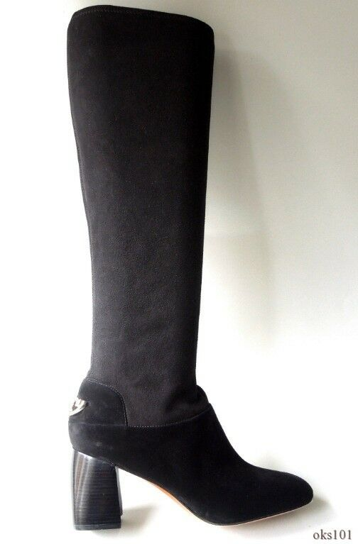 New  575 TORY TORY TORY BURCH Sidney black stretch suede gold logo block heel TALL BOOTS e51015