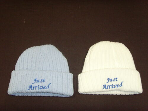 Baby Knitted Wool Embroidered Personalised Hat With Saying Just Arrived