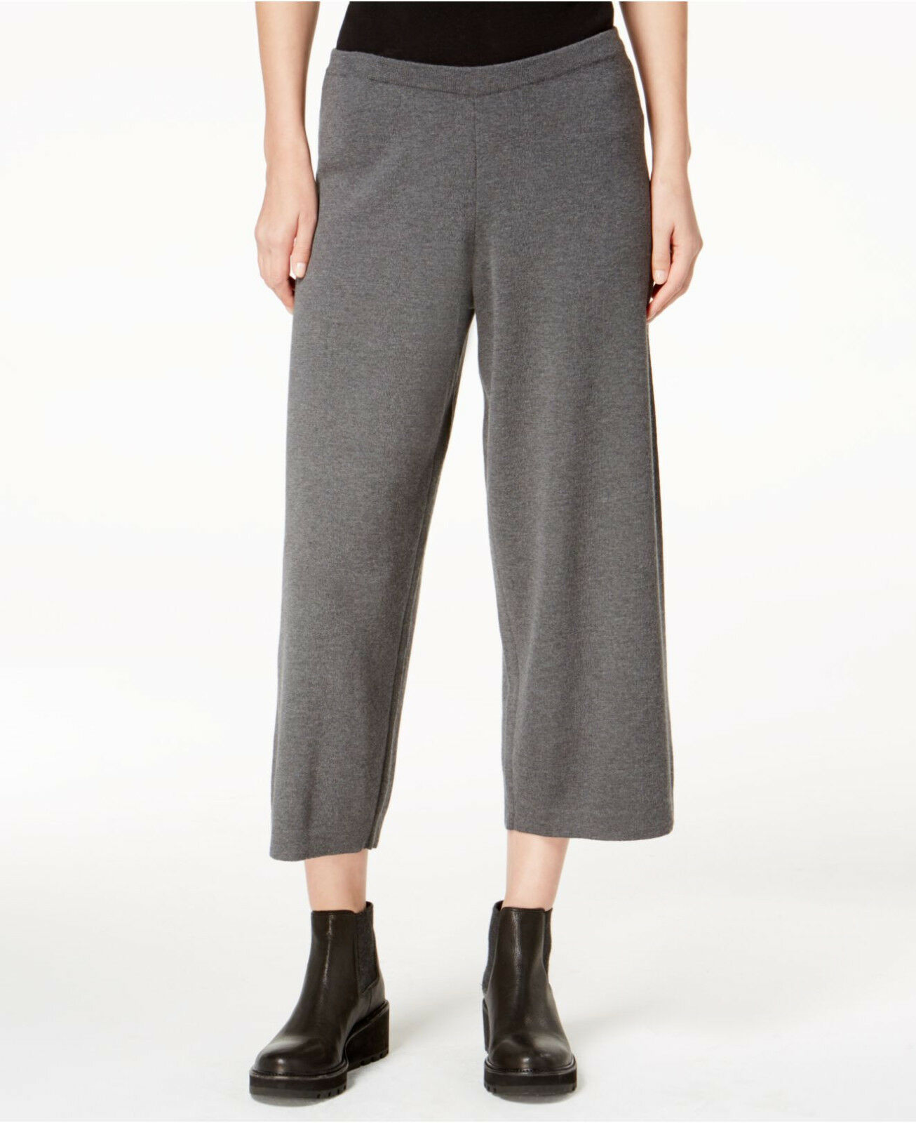 218 Eileen Fisher Bark The Icons Wool Pull On Cropped Wide Pants