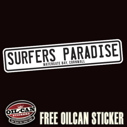 surfers paradise watergate bay cornwall bumper sticker 180mm wide surf surfing