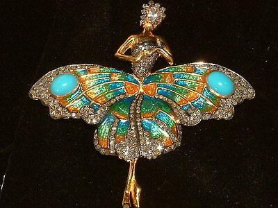wonderful Dancing  ballerina pendant with diamonds enamel & turquoise  brooch to