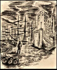 """André DIGNIMONT- """"Seul aux quais"""" - Dessin à l'encre encadré - 1931"""