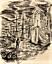 """miniature 1 - André DIGNIMONT- """"Seul aux quais"""" - Dessin à l'encre encadré - 1931"""