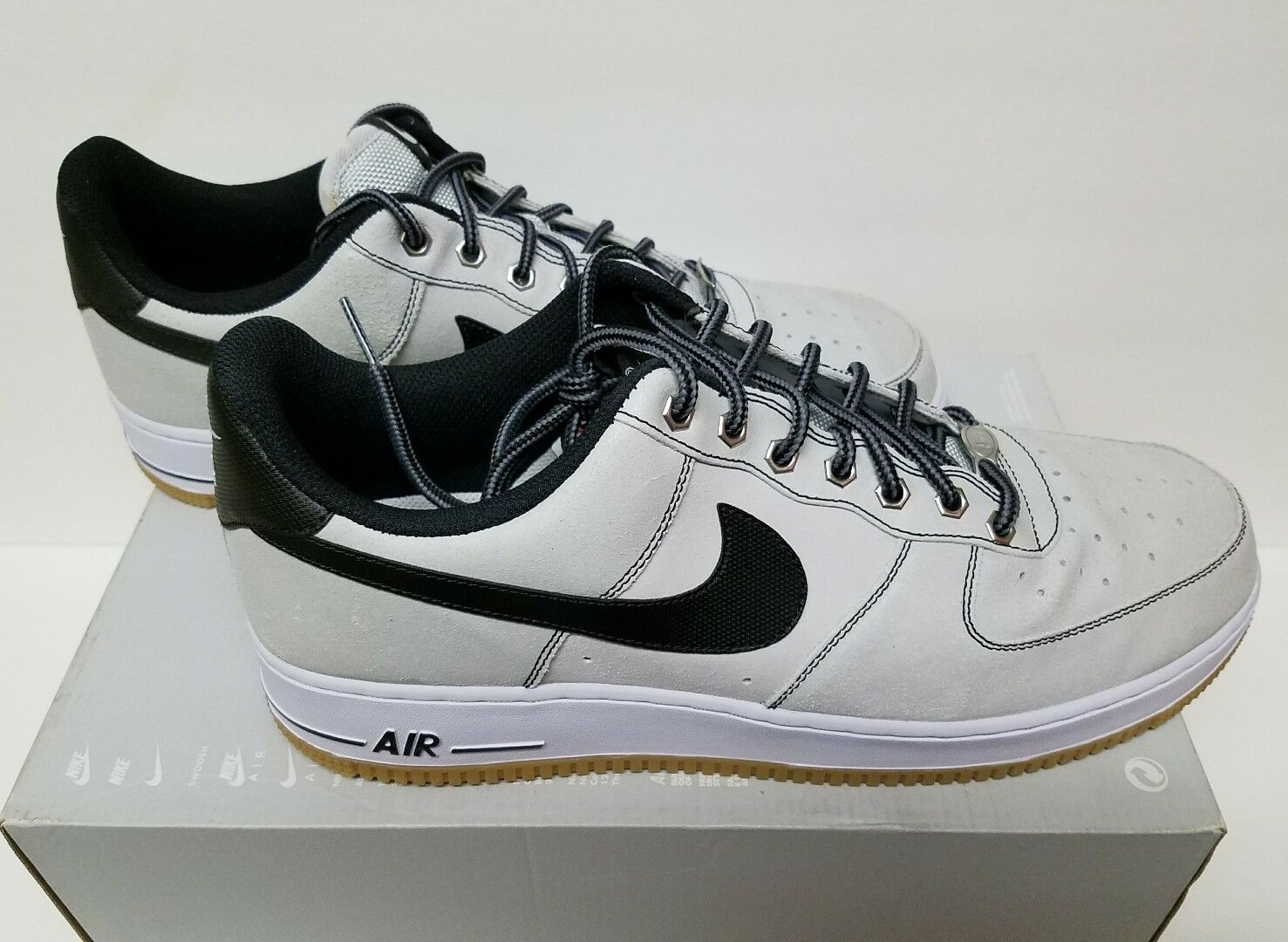 NIKE Air Force 1 Size 12 Platinum Gum Leather Shoes  488298-068