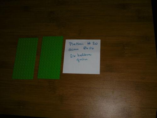Lego Platte dünn 2x 8x16 Noppen in hellem grün Nr 3865 #20 Baukästen & Konstruktion